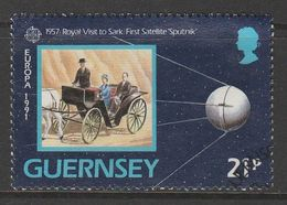 Guernsey 1991 EUROPA Stamps - European Aerospace 21p Multicolored SW 514 O Used - Guernsey