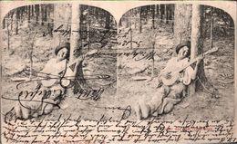 ! 1900 Alte Stereokarte, Stereoview, Black Americana, Banjo, Aus Dem Negerleben - Estereoscópicas