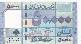Lebanon-Liban 50.000 LL Banknote Overprinted In Red SPECIMEN, Rare -Uncircult. Red. Price ( No Paypal & No Skrill ) - Lebanon