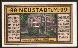 Notgeld Neustadt 1921, 99 Pfennig, Technikum Gebäudeansicht, Rathaus, Schloss & Wappen - [11] Lokale Uitgaven
