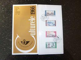 "BELG.1966 1385/1388 NL.folder Met Zegel 1édag Stempel  :  "" Culturele "" - FDC"