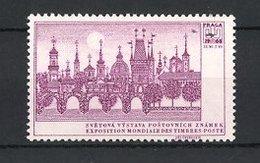 Reklamemarke Praha - Prag, Svetova Vystava Postovnich Znamek 1968, Historische Brücke über Die Moldau, Lila - Erinnofilie