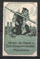 Künstler-Reklamemarke Willy Reidelbach, München, Verein Der Papier - & Schreibwarenhändler, Münchner Kindl, Grün - Vignetten (Erinnophilie)