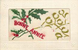 TOP 150 - CPA Original Carte Brodée BONNE ANNEE  Fleurs ,  TBE Voir Scan Recto Verso - Embroidered