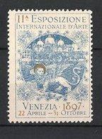 Reklamemarke Venezia - Venedig, 11. Esposizione Internazionale D'Arte 1897, Venezianischer Löwe Und Dogenpalast - Vignetten (Erinnophilie)