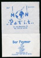 Serviette Publicitaire : BAR FEYMAR, Plaça Espanya, 14, FERRERIES, Menorca, Minorque (2 Scans) - Werbeservietten