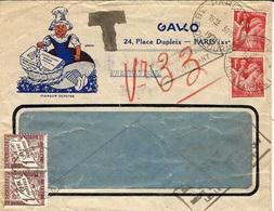 1941- Enveloppe PNEUMATIQUE Illustrée De PARIS-64 Affr. 2 F  IRIS   TAXEE  2 F. - Marcophilie (Lettres)