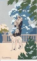 20 / 6 / 173. -  JEUNE. FEMME  ET. SON  CHIEN  -  PEINT  MAIN  SIGNÉ G  MESCHINI  - - Autres Illustrateurs