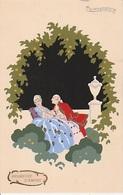 """20 / 6 / 174  -   """"PROMESSE  D'AMORE  """"COUPLE. SIGNÉ  G. MESCHINI  -  CPA. PEINT. MAIN - - Autres Illustrateurs"""
