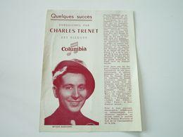 Quelques Succès Enregistrés Par CHARLES TRENET Des Disques COLUMBIA - Parmi Ses Meilleurs Disques - Musik & Instrumente