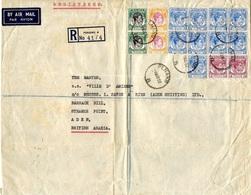 1952- Large Envelopp. From PENANG A  By Air Mail And REG.  Nice Franking  - Back, Transit Aden - Penang