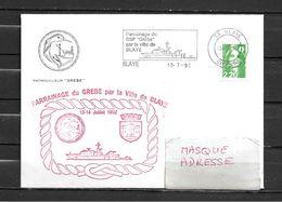 Patrouilleur ( P.S.P) GREBE - Parrainage Par La Ville De BLAYE - Flamme Temporaire BLAYE 13/07/92 - Marcophilie (Lettres)