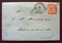"""Norddeutscher Postbezirk 1869 (Mi.-Nr.16) Cöln Bahnhof Nach Osnabrück,Brief Beschrieben,TOP-Stempel,(457"""") - North German Conf."""
