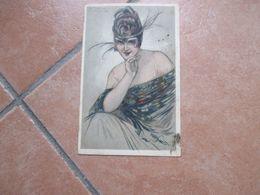 1919 Donnine Woman Illustratore MAUZAN Fascia Piume Viaggiata Affrancata - Mauzan, L.A.