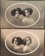 """2 CPA 1919,  Portraits 2 Femmes, Dans Encadrement Style """"médaillon"""", Fantaisies, éd PRH,écrites Timbres - Femmes"""