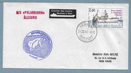"""2 - PO100 Des TAAF Oblitération """" CAP TOWN PAQUEBOT """" Du 26.III 85. Cachets Du POLARBJORN. étiquette """" Seamen's Mail """" - Lettres & Documents"""