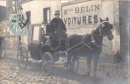 Carte Photo Maison BELIN Voitures Fiacre Cocher - Adressée à Mme Chevalier BOEURS En OTHE (Yonne) - Taxis & Fiacres