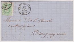 Lettre De La Sucrerie De Wiers. Obl. Callenelle 1873 Vers Bracquegnies. - 1869-1883 Léopold II