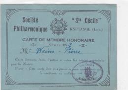 KNUTANGE - MOSELLE - (57) - CARTE DE MEMBRE SOCIÉTÉ PHILHARMONIQUE SAINTE-CÉCILE DE 1922..... - Cartes