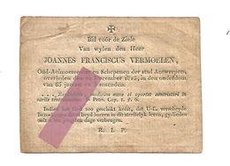 DD6. JOANNES FRANCISCUS VERMOELEN - Oud-Aalmoezenier En Schepen Te ANTWERPEN - Overleden In 1815 (65j.) - Images Religieuses