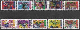 2018 FRANCE Adhesif 1548-57 Oblitérés, Croix-rouge, Fleurs, Série Complète - France