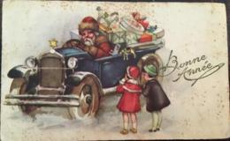 Cpa, Illustration, Bonne Année, Père Noel Au Volant D'une Vieille Voiture, Jouets , Fillettes, (7,2 X 11,5 Cms), écrite - Santa Claus