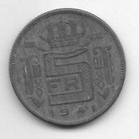 Belguim Leopold III 5 Francs 1941 French  Vf+   * - 06. 5 Francos