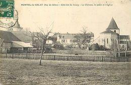 - Puy De Dôme -ref-A859- Montel De Gelat - Côté Est Du Bourg - Chateau - Poste Et Eglise - Postes - - Autres Communes