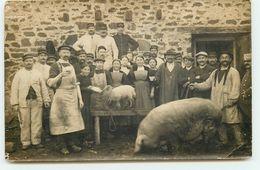 Carte Photo - Bretagne - Morbihan - Abattoir Militaire - Intérieur D'une Ferme - Cochon - Autres Communes