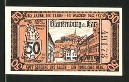 Notgeld Blankenburg Am Harz 1920, 50 Pfennig, Hexen Fliegen Zum Brocken, Tränkestrasse - [11] Emissioni Locali