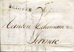LETTRE 1817 GRIFFE SAINTES POUR JARNAC CHARENTE MARITIME DOCUMENTS D'AFFAIRES - Marcophilie (Lettres)