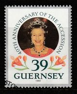 Guernsey 1992 The 40th Anniversary Of Queen Elizabeth II Accession 39p Multicolored SW 551 O Used - Guernsey