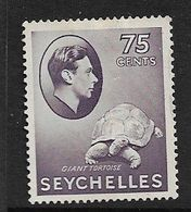 SEYCHELLES 1941 75c DEEP SLATE - LILAC SG 145a MINT NO GUM Cat £35 - Seychelles (...-1976)