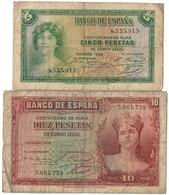 Spain Lot Set 5 & 10 Pesetas 1935 (Stock Image - Heavy Circulation) - [ 2] 1931-1936 : République