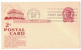 IZ808  USA 1952 LINCOLN PRE-PAID POSTCARD WITH FDC POSTMARK - Postal Stationery