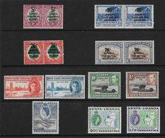 KENYA UGANDA AND TANGANYIKA 1941 - 1958 COMMEMORATIVE SETS (LIGHTLY) MOUNTED MINT/UNMOUNTED MINT Cat £31+ - Kenya, Uganda & Tanganyika