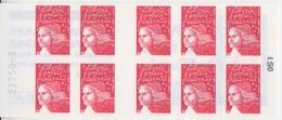 Marianne De Luquet, TVP Rouge Carnet De 10 TP N° 3419-C2 (La Poste Vous Facilite L'Euro), Neuf ** - Usage Courant