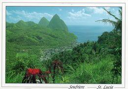 Soufriere St. Lucia - Historic Soufriere, With Petit Piton And Gros Piton  CPM  état Impeccable - Sainte-Lucie