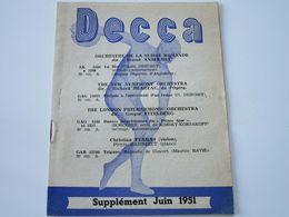 Disques DECCA - Supplément Juin 1951 - Les Derniers Disques Parus (8 Pages) - Musik & Instrumente