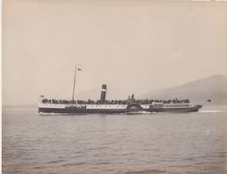 OLD REAL PHOTO - SHIPPING - PADDLE STEAMER GLENMORE - PHOTO SCOTLAND ADAMSON - ROTHESAY -  28 X 21 CM - Barche