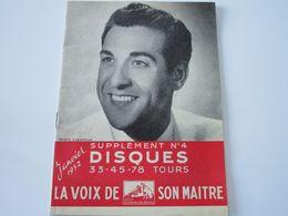 LUIS MARIANO - Disques LA VOIX DE SON MAITRE- Supplément N°4 Janvier 1952 - Les Derniers Disques Parus (24 Pages) - Music & Instruments