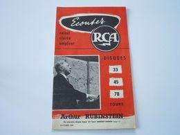 Arthur RUBINSTEIN - Disques RCA - Octobre 1955 - Les Derniers Disques Parus (12 Pages) - Musik & Instrumente