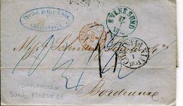 LETTRES 1855 CHRITIANA SVINESUND TAXES ENTREE PRUSSE VALENCIENNES POUR BORDEAUX GIRONDE SUEDE DANEMARK MARCOPHILIE - ...-1855 Vorphilatelie