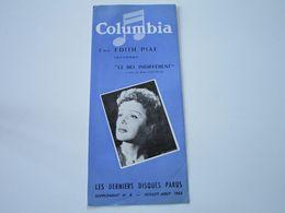 EDITH PIAF - Disques COLUMBIA - Supplément N°8 Juillet-Aout 1953 - Les Derniers Disques Parus (dépliant 3 Volets) - Musique & Instruments