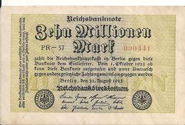 ALLEMAGNE 10 MLLIONEN MARK 1923 VF+ P 106 - [ 3] 1918-1933: Weimarrepubliek