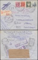 FRANCE Yv 505/6+523+524 SUR LETTRE REC PAR AVION DE PARIS 13/10/1943 VERS MAROC ESPAGNOL CENS+RETOUR (DD) DC-8047 - France