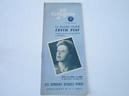 EDITH PIAF - Disques COLUMBIA - Supplément N°8 Juillet-Aout 1952 - Les Derniers Disques Parus (8 Pages) - Musique & Instruments