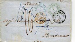 LETTRES 1854 CHRITIANASSUND SVINESUND TAXES ENTREE PRUSSE VALENCIENNES POUR BORDEAUX GIRONDE SUEDE DANEMARK MARCOPHILIE - ...-1855 Vorphilatelie