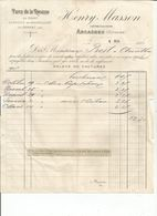 Facture  Henry Masson A Arcachon M Prost Pharmacien  Arinthod Du 5 Mai 1906 - 1900 – 1949