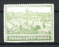 """Präge-Reklamemarke Prag, """"Caput Regni"""", Ortsansicht, Grün - Erinnofilie"""